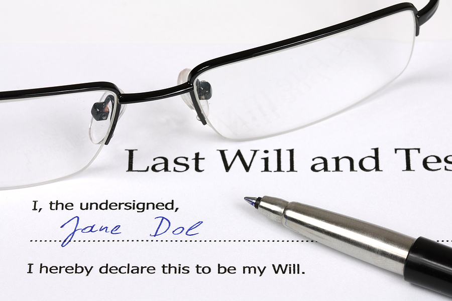 Last Will and Testament of a persona and signature.